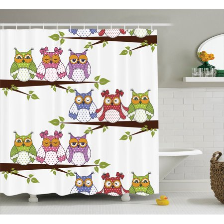 - Owls Home Decor Shower Curtain Set, Owls On The Tree Branches Sitting In Horizontal Line Friendship Event Themed Art, Bathroom Accessories, 69W X 70L Inches, By Ambesonne