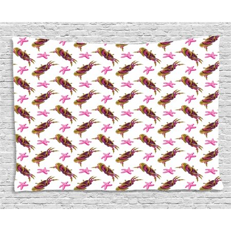 Crabs Decor Tapestry, Illustration of Crabs and Starfish Cartoon Style Decorative Design Print, Wall Hanging for Bedroom Living Room Dorm Decor, 60W X 40L Inches, Pink Olive Green, by Ambesonne