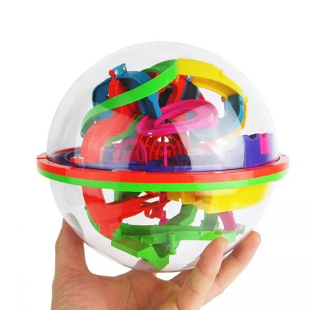 100 Challenging Barriers 3D Labyrinth Magic Intellect Ball Balance Maze Kids Puzzle Toy (Magic Metal Puzzles)