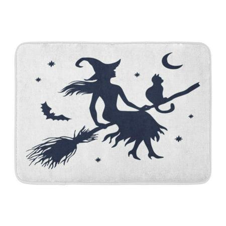 SIDONKU Halloween Silhouette of Witch Cat on Broom Moon and Stars Vintage Doormat Floor Rug Bath Mat 23.6x15.7 inch](Level 5 On 100 Floors Halloween)