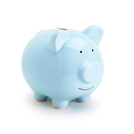 Ceramic Baseball Bank (Pearhead Ceramic Piggy Bank, Blue)