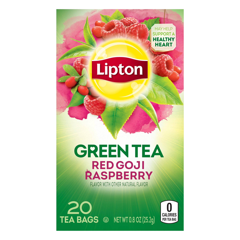 (4 Boxes) Lipton Green Tea Bags Red Goji Raspberry 20 ct