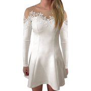 Women's Long Sleeves Mesh Panel Semi Sheer York Tunic Shirts White (Size XL / 16)