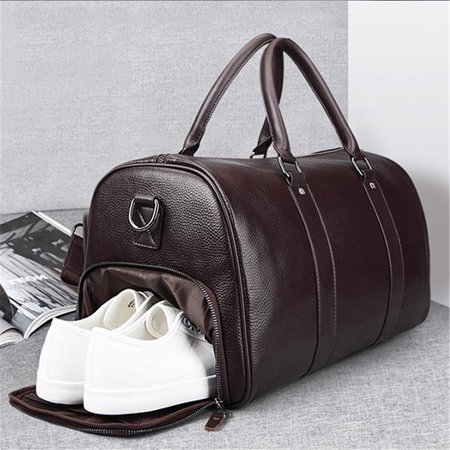 Leather Travel Duffel Bag with Shoe Pouch, Carry on Bag Weekender Bag for Men
