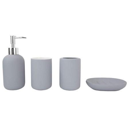Home Basics 4Pc Bathroom Set Rubberized - Gray ()