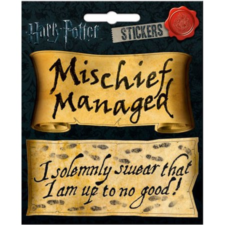 6 1/2 Inch Dimensional Stickers - Harry Potter Mischief Managed and I Solemnly  Swear 4 x 4 1/2 Inch Sticker