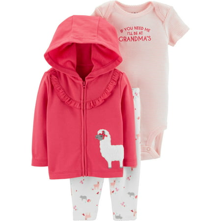 Hooded Ruffle Cardigan, Short Sleeve Bodysuit & Leggings, 3-Piece Outfit Set (Baby Girls) - Short Girls Tube