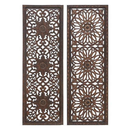 34089 Elegant Wall Sculpture - Wood Wall Panel 2 Assorted