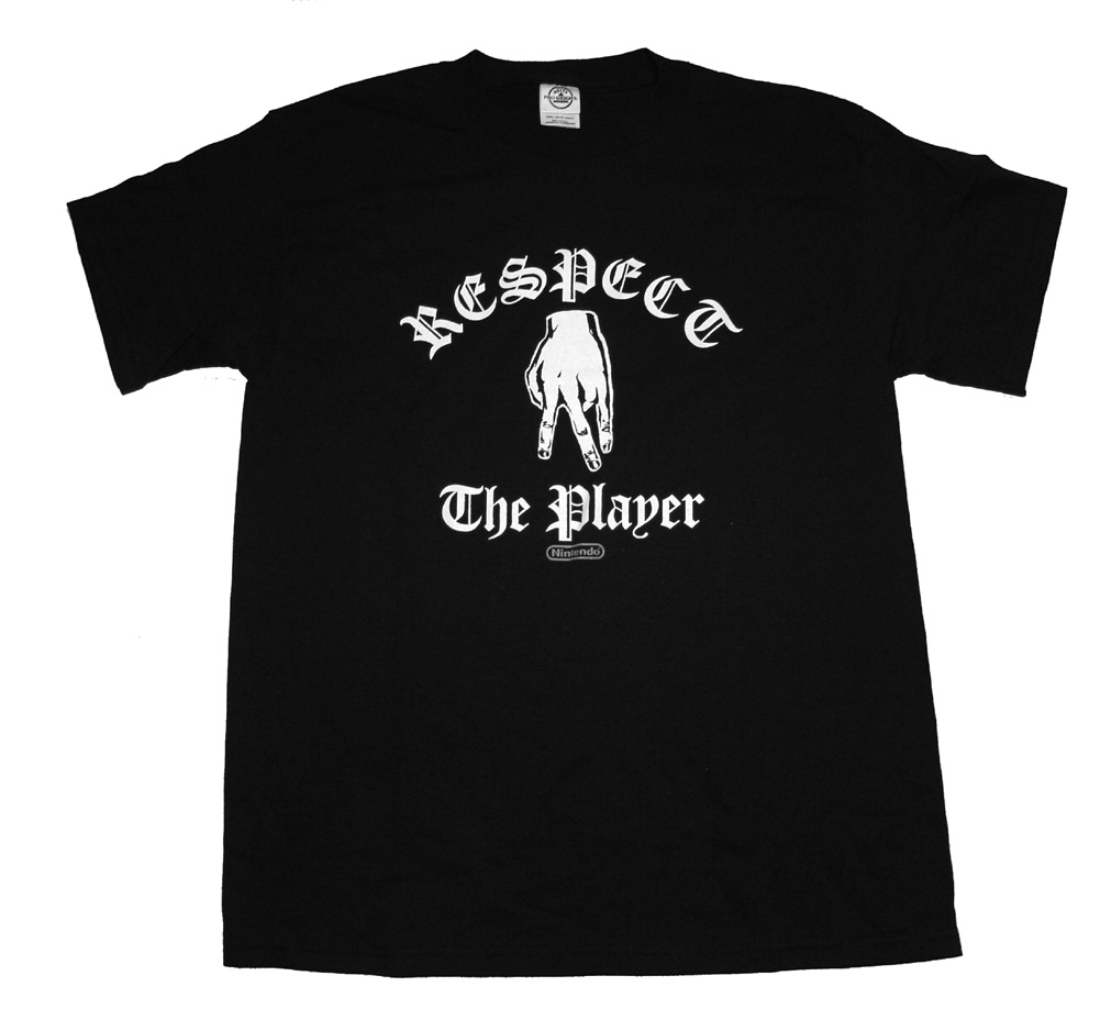 Respect The Player Gang Sign Funny Nintendo Video Game Adult T-Shirt Tee