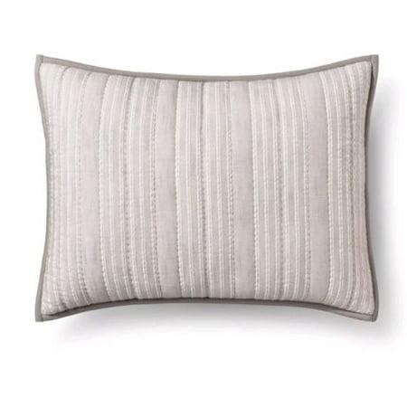 Gray Stitched Stripe Sham (Standard) - Threshold™