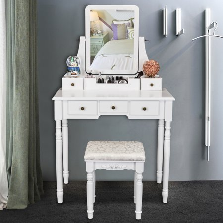 Ktaxon 5 Drawers Vanity Table Set With Mirror Cushioned Stool Makeup Dressing 2 Dividers Movable Organizers White