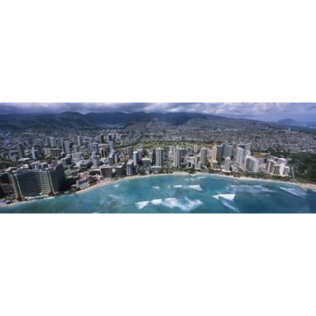 Aerial view of a city Waikiki Beach Honolulu Oahu Hawaii USA Canvas Art - Panoramic Images (18 x 7) - Party City Oahu