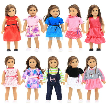18 inches Doll Clothes 10 Different Unique Styles Well Fit for American Girls Doll, Doll and Me, My Life Doll, and My Generation Doll by Party Zealot (Real American Girl Doll Clothes)