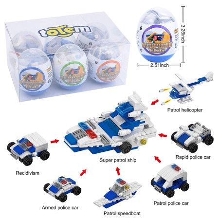 - 6 Filled Easter Egg Building Toys - Police Vehicle Set - Age 6-12 Learning Educational Inside 3
