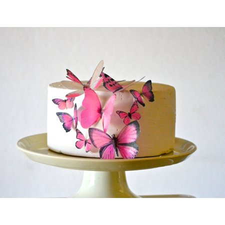 Edible Butterflies © - Assorted Pink Set of 15 - Cake and Cupcake Toppers, Decoration](Packers Cake)