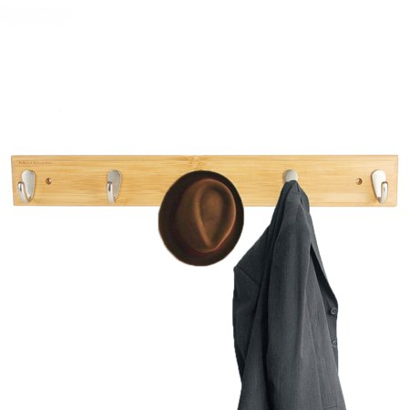 - Mind Reader 5 Hook Mount on the Wall Rack, Coat, Jacket, Scarves, Hats, Umbrella Hanger, Environment Friendly Bamboo, Brown
