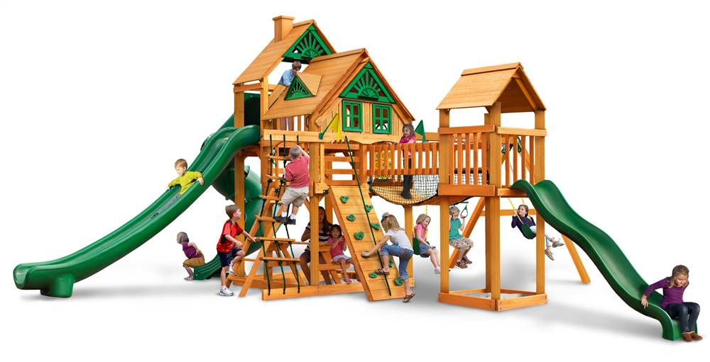 Gorilla Playsets Treasure Trove II Treehouse Swing Set with Amber Posts by Gorilla Playsets