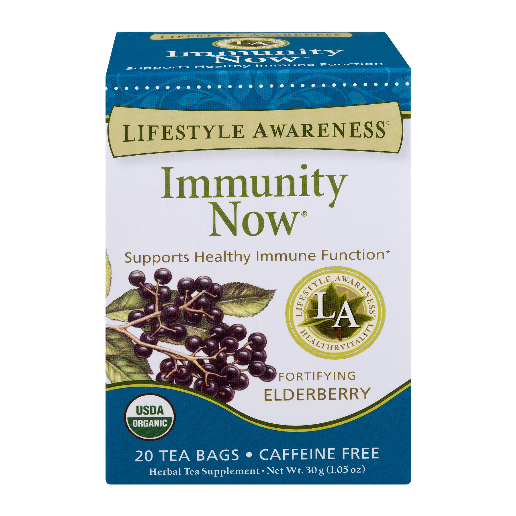 Lifestyle Awareness Immunity Now Tea with Fortifying Elderberry, Caffeine Free, 20 Tea Bags, Pack of 6