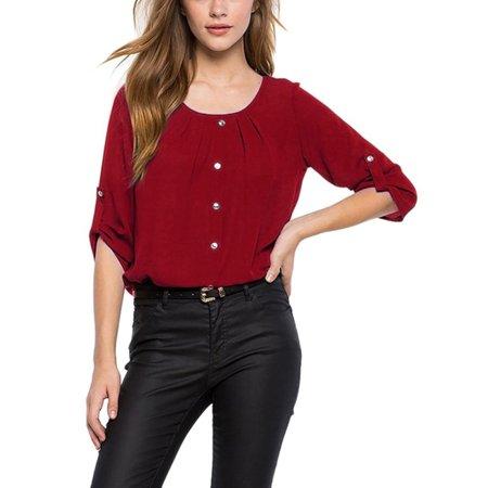 b0b31d9ee34 Esho - Esho Women Ladies Casual Loose Long Sleeve Chiffon Tunic Blouse  Shirt Tops - Walmart.com