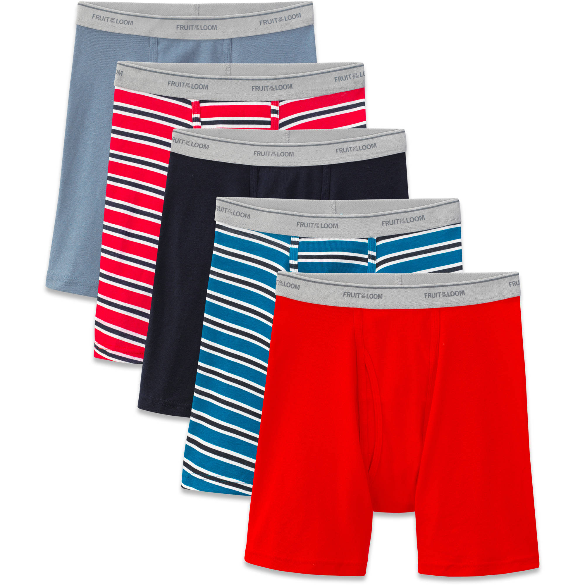 Fruit of the Loom Men's Stripes and Solids Boxer Briefs, 5-Pack by Fruit Of The Loom Men's Underwear
