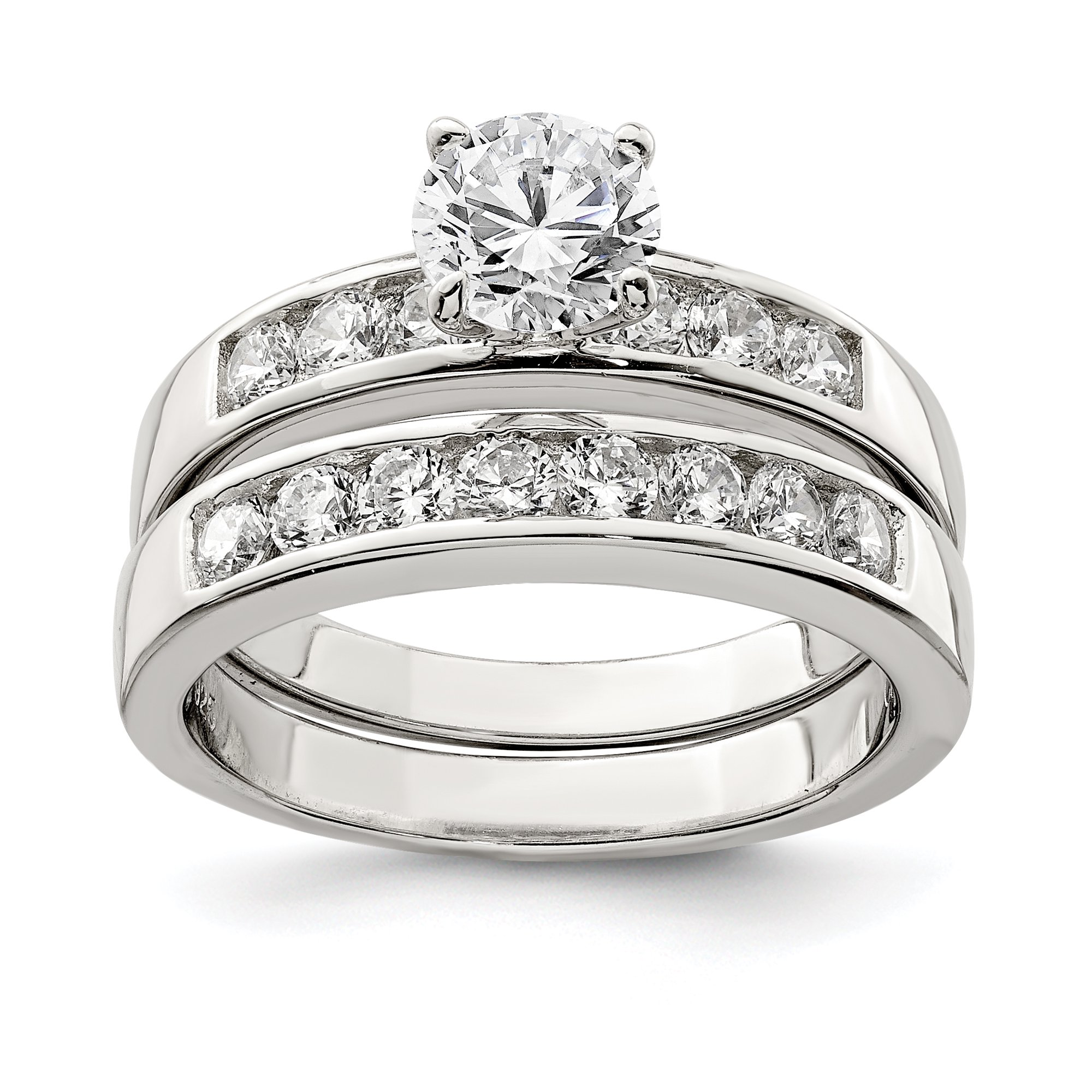 925 Sterling Silver 2 Piece Cubic Zirconia Wedding Set Ring
