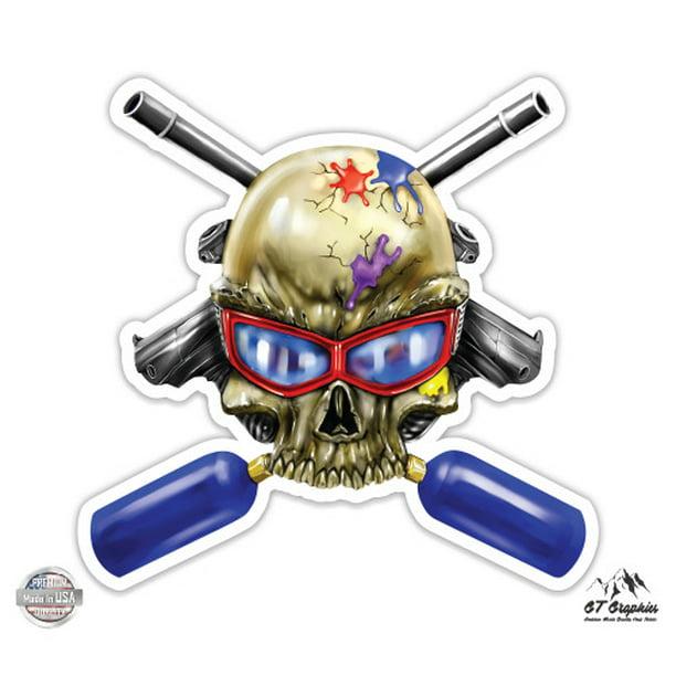 Vinyl Sticker Waterproof Decal GT Graphics Skull Kayaker