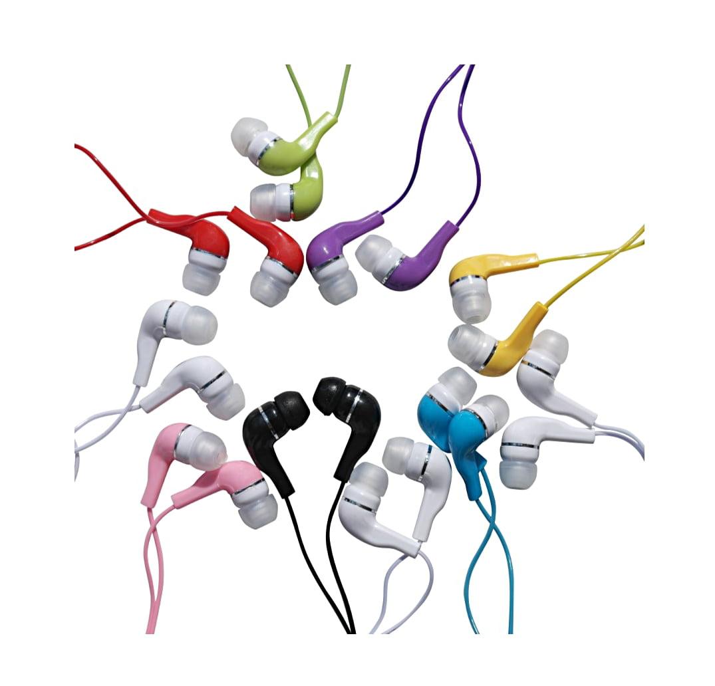 JustJamz Kids (10 Pack) Jelly Roll Colorful In-Ear  Earbud Headphones Earphones - Assorted Colors