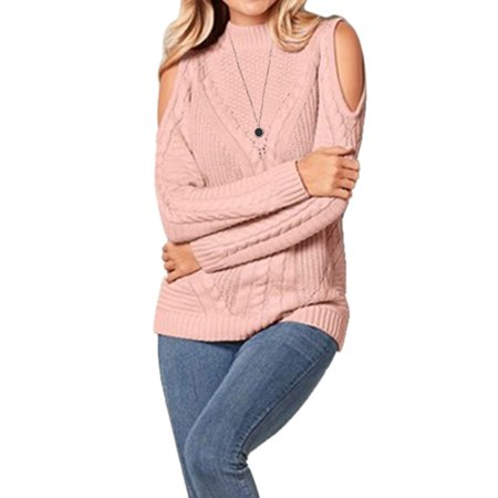 Women Turtleneck Cut Out Cold Shoulder Ribbed Knit Slim Pullover Sweater Ladies Long Sleeve Jumper Tops Ribbed Cotton Turtleneck Sweater