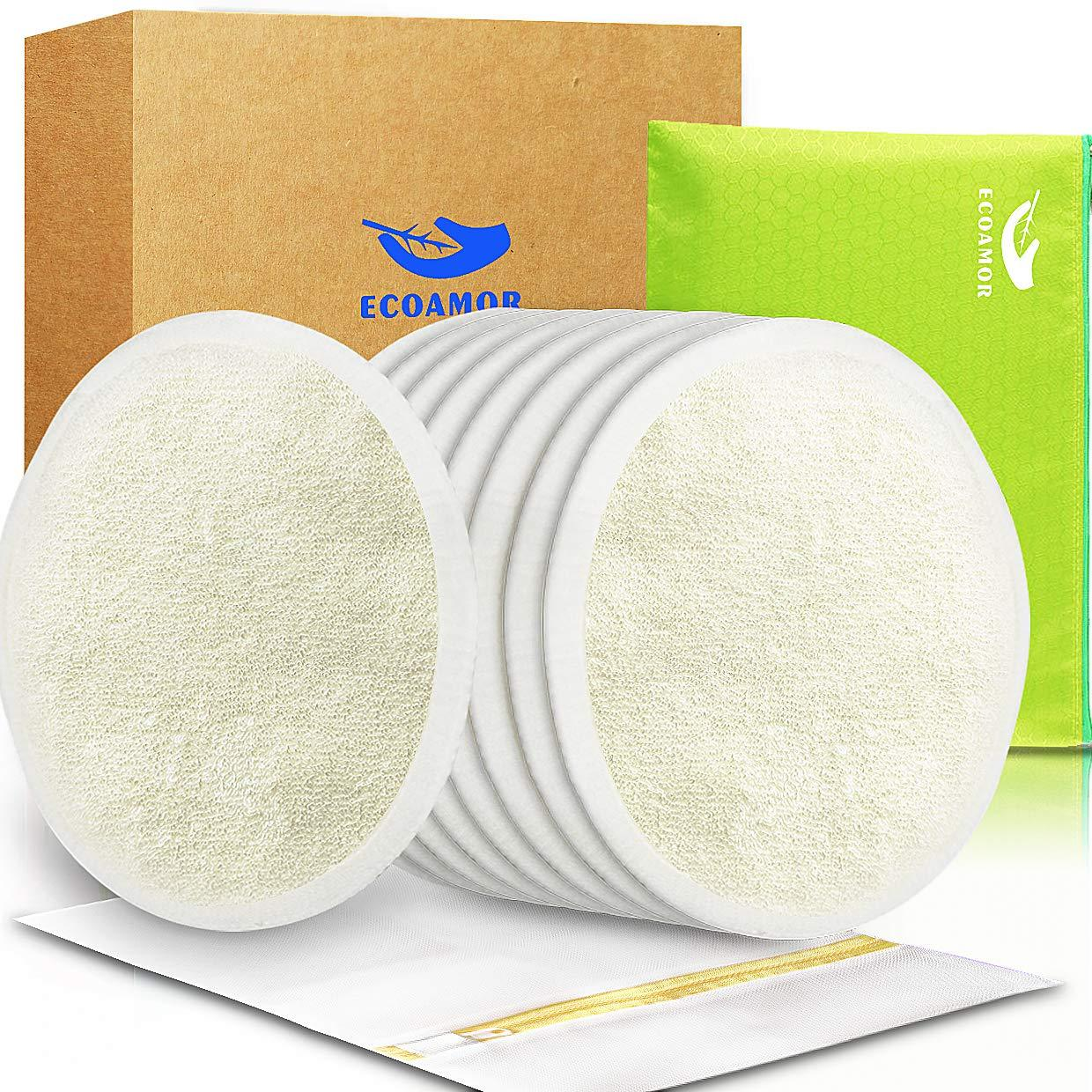 Click here to buy ECOAMOR Bamboo Washable Reusable Bra Nursing Pads with leak-proof backing for Breastfeeding,8 Pack + Laundry... by ECOAMOR.