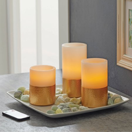 Better Homes & Gardens 3 Pack Flameless LED Pillar Candles, Hammered Metallic