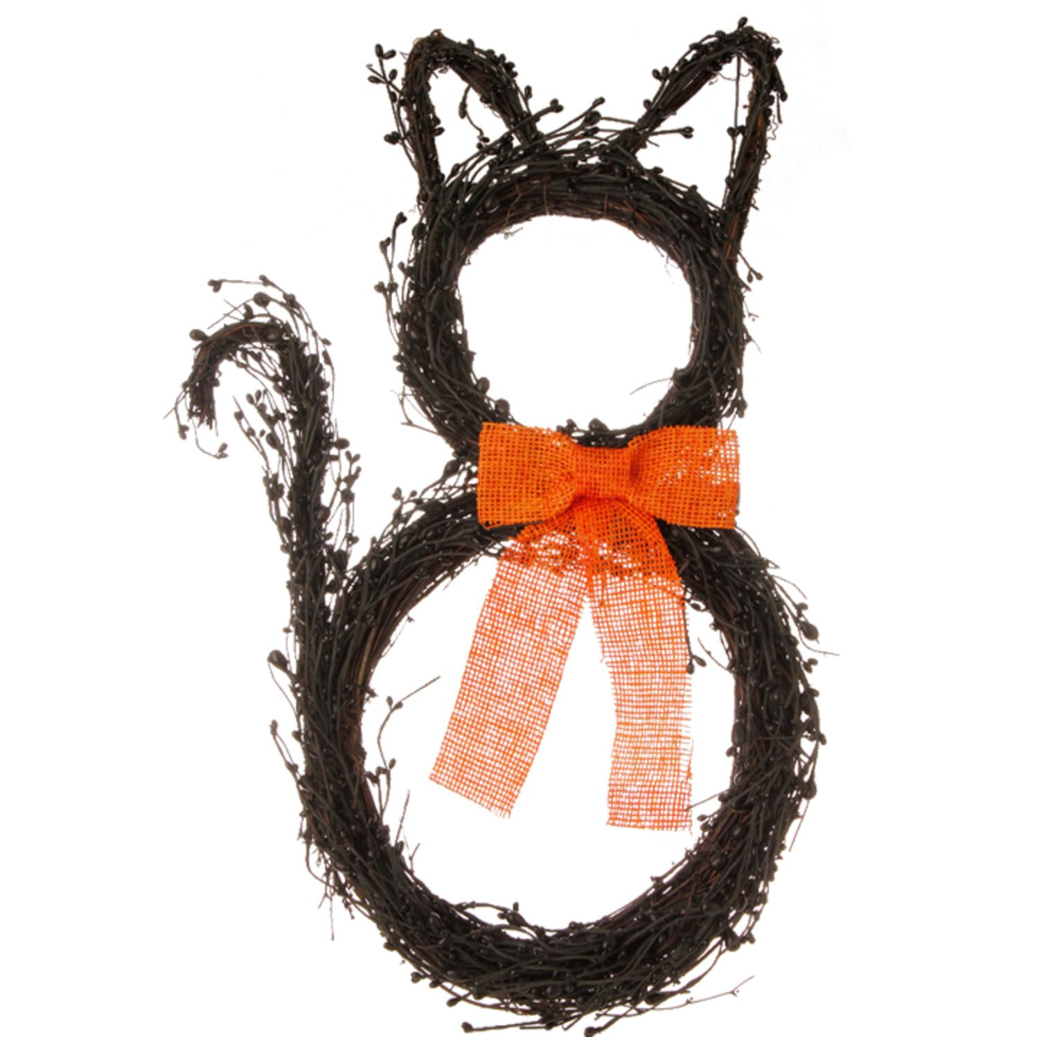 "22"" Black Vine and Berry Cat Wreath with Orange Bow Halloween Decoration"