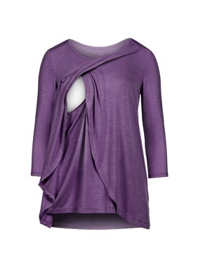 Outtop Women Long Sleeve Asymmetrical Hem Nursing Tunic Tops For Breastfeeding hot sale