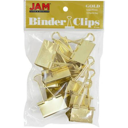 JAM Paper Binder Clips, Large, 41mm, Gold Binderclips, 12/pack