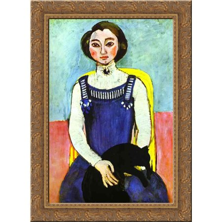 Girl with A Black Cat 20x24 Gold Ornate Wood Framed Canvas Art by Matisse, Henri - Henri The Black Cat Halloween