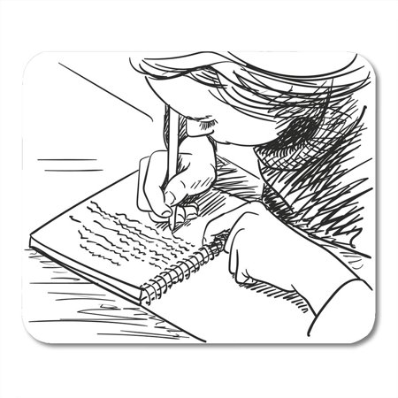 POGLIP Drawn Child Sketch of Girl Writing in Education Hand Mousepad Mouse Pad Mouse Mat 9x10 inch - image 1 de 1