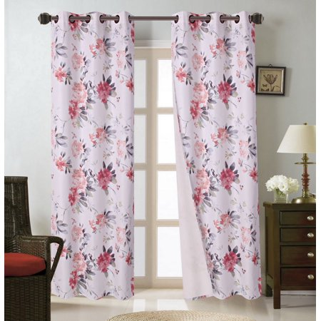 FLORAL#8   1-Piece Floral Bouquet Blackout Lined Grommet Window Curtain Panel 37