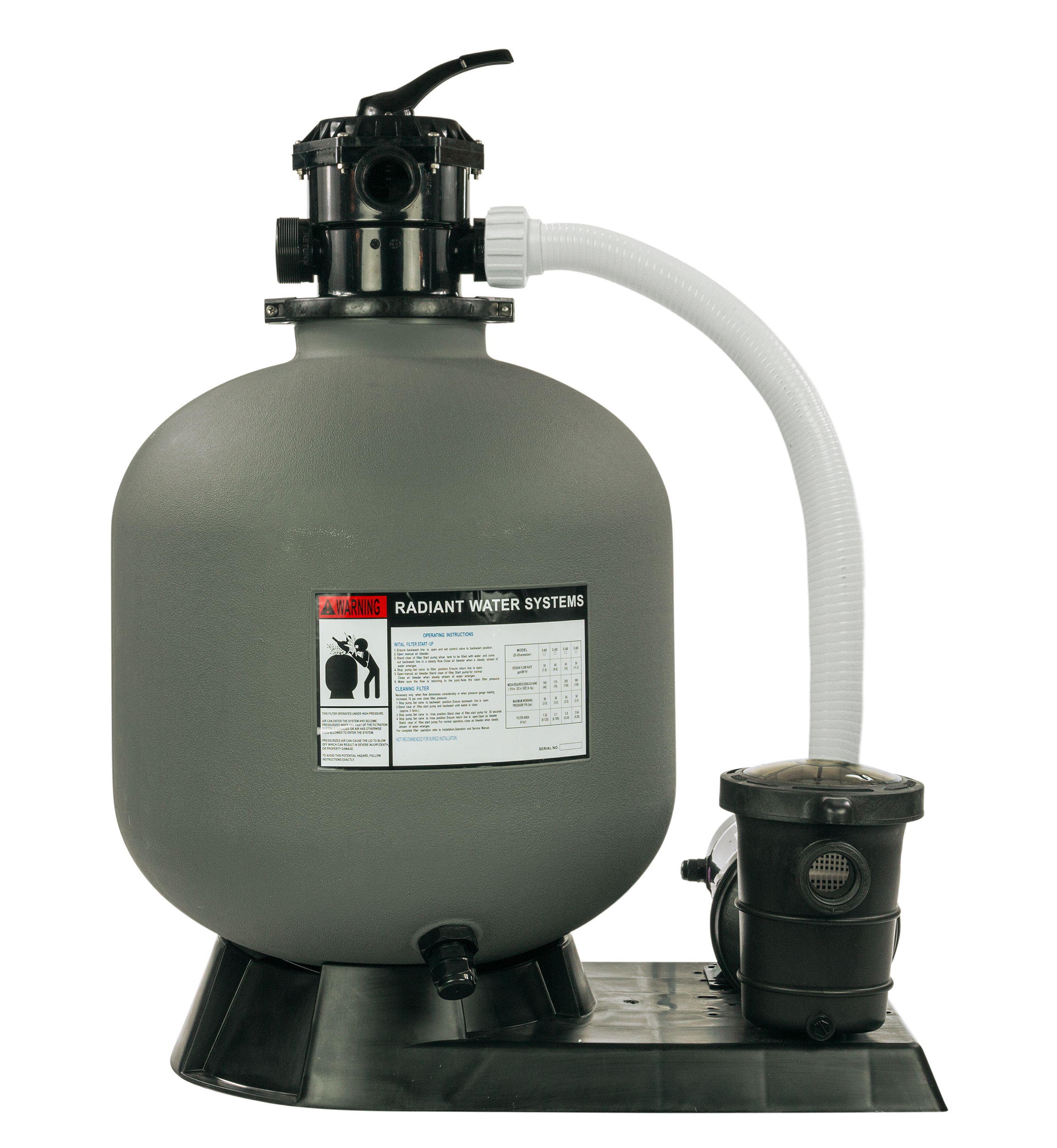 "Radiant 22"" Inch Above Ground Swimming Pool Sand Filter System w/1.5 HP Pump"