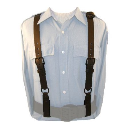 Floral Leather Suspenders - Boston Leather Police Suspenders -