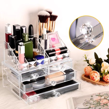 LANGRIA Clear Acrylic Makeup Organizer, 2 Pieces Cosmetic and Jewelry Display Case Tray Storage Box with 11 Compartments and 4 Drawers for Lipsticks Brushes Palettes Vanity Countertop Bathroom Dorm (Drawer Organizers Bathroom)