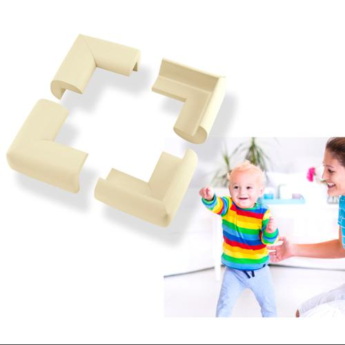 4Pcs Child Baby Kids Safety Corner Edge Protectors Soft Cover Protector Cushion Guard - Beige