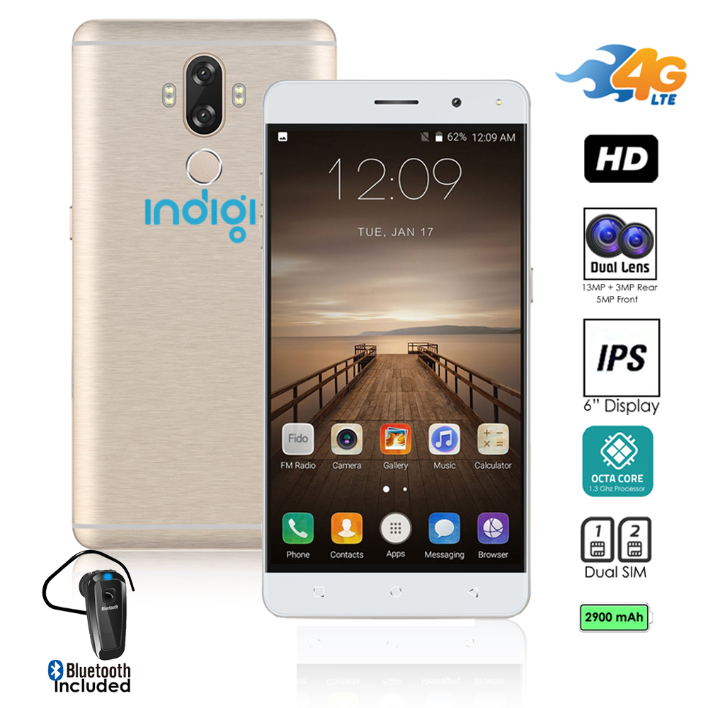 "4G LTE GSM Unlocked 6"" SmartPhone by Indigi (8Core @ 1.3GHz + Android 7 + Finger Scanner + DualSIM) + Bluetooth headset"