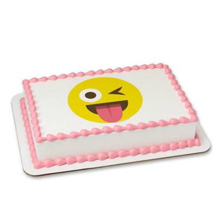 Emoji Emoticon Winking 1 4 Sheet Cake Cupcake Edible Sheet Image