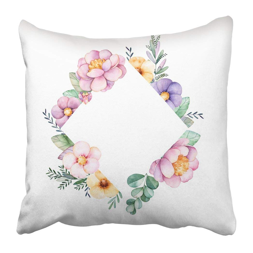 WOPOP Beautiful Watercolor Rhombus Border With Peony Flower Foliage Branches And Gemstones Pillowcase 16x16 inch
