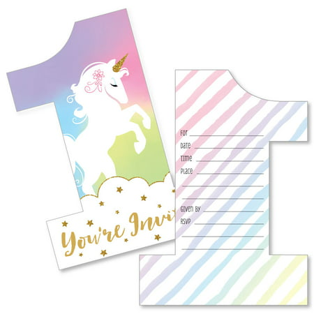 1st Birthday Rainbow Unicorn - Shaped Fill-In Invitations - Magical Unicorn First Birthday Party Invitation Cards - Walmart.com