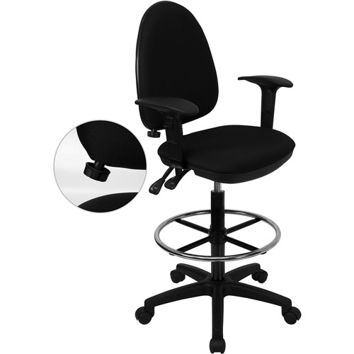 Mesh Back Drafting Stool With Arms And Adjustable Lumbar, Black