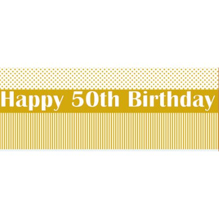 Happy 50th Birthday Stripes and Polka Dot Edible Cake Border Decoration Banner - Polka Dot Cake