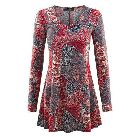 Made by Johnny MBJ WT1299 Womens Printed V Neck Long Sleeve Tunic Top L (Women's Clothing Redding Ca)