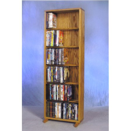 The Wood Shed Solid Oak 6 Row Dowel DVD Media Tower – 18 in. Wide