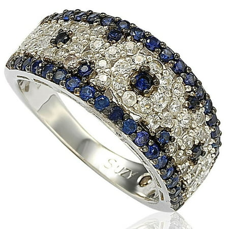18k White Gold And Diamond Ring - 2.28CT Sapphire and Diamond in Sterling Silver and 18K Abstract Gold Ring