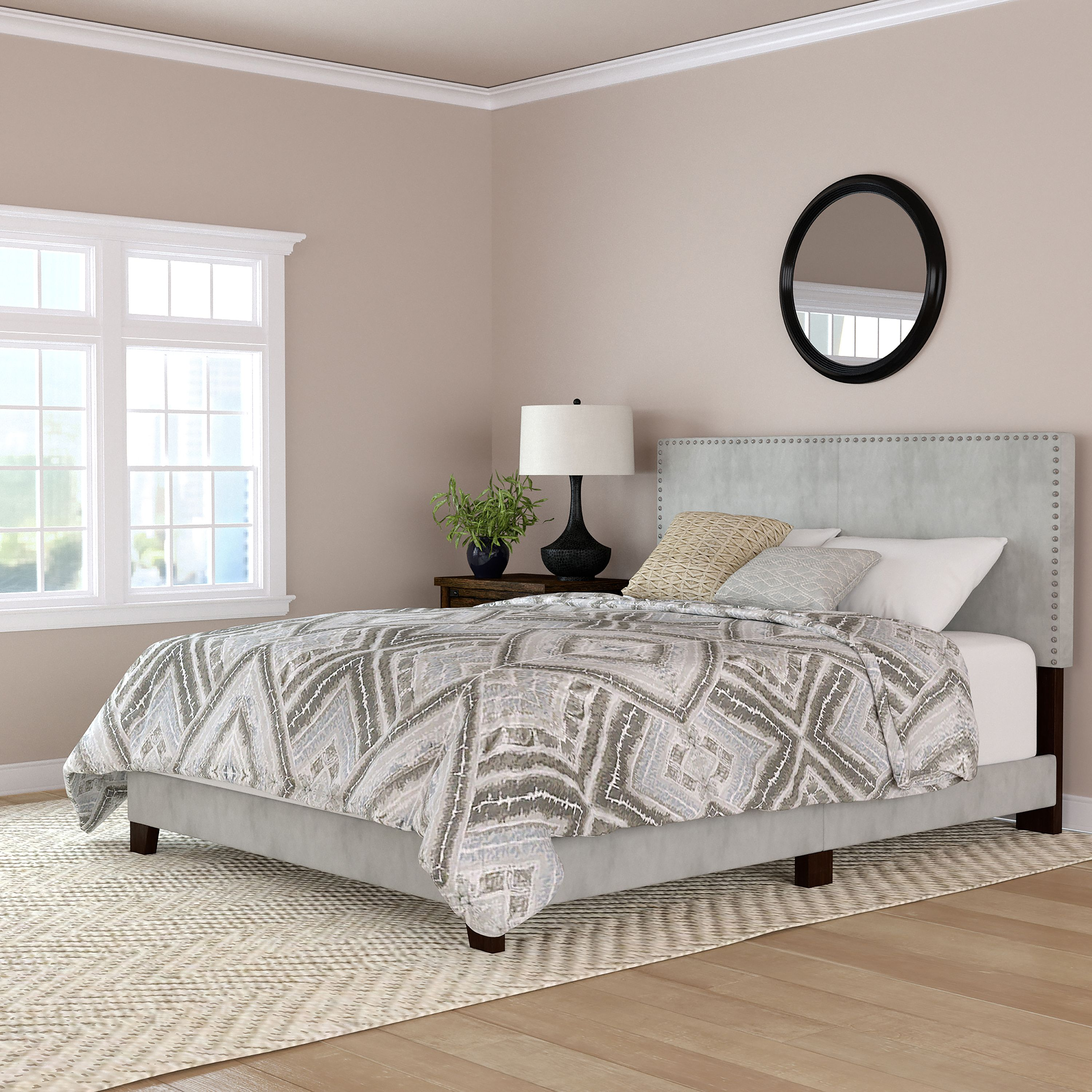 Mainstays Velvet Nailhead Queen Size Bed, Multiple Colors